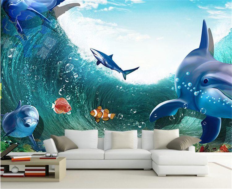 3D Riesige Wellen Delphine Fototapeten Wandbild Fototapete BildTapete Familie DE