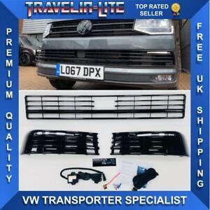VW-T6-Rejilla-Inferior-amp-Light-Bar-Drl-Kit-pintado-de-negro-brillante-Transporter-15-en-RAD