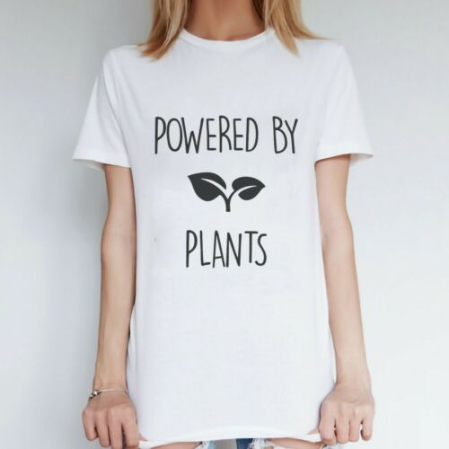 Womens Vegan Clothing Powered by Plants Slogan Top Gift Idea for Her Girlfriend