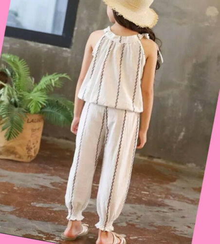 Girls Top and Pants set 2 pcs Sleeveless Outfit Kids Summer Set Age 2-12 years