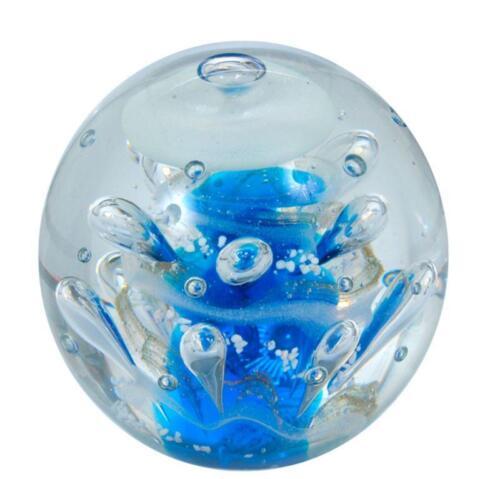 Briefbeschwerer Traumkugel 214 blaue Säule mit nachtleuchtender Blase Glaskugel