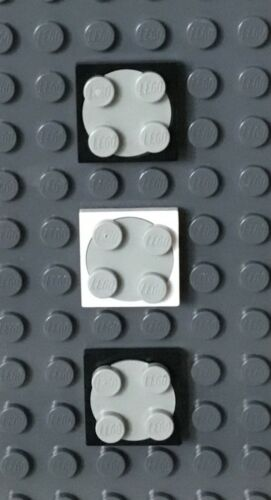 3 White /& Light Gray Black Lego Turntables 2x2 Spinners