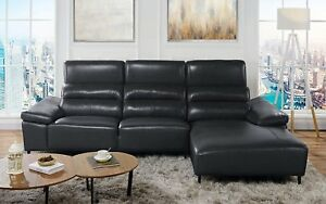 Low Profile Sectional Sofa With Right Chaise Leather Match Black