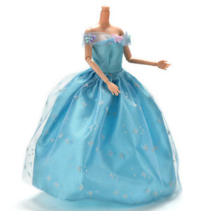 Kleid-fuer-Hellblau-Kleid-mit-Schmetterling-Dekoration-Puppe-Schoene-FL