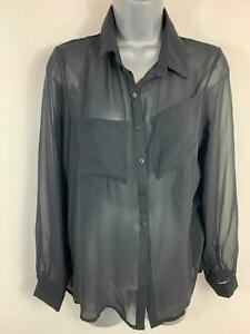 Bnwt-Femme-CMNC-WOMAN-Black-Casual-Sheer-Shirt-a-Manches-Longues-Chemisier-Taille-M