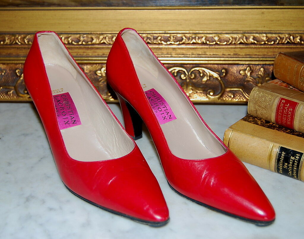 CLASSIC CHRISTIAN LACROIX PARIS WOMEN'S ROT LEATHER HIGH HEELS WOMEN'S PARIS PUMP Schuhe SZ 8 B 645acf