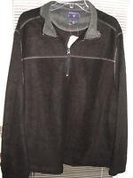 Mens Saddlebred 1/3 Zipper Fleece Black Pullover 100% Polyester Sz Large L