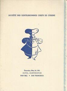 Societe Des Gentilshommes Chefs De Cuisine Luncheon Menu, 1950s San Francisco #2