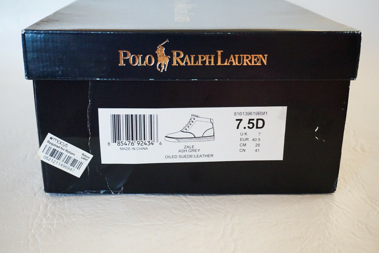 Polo Ralph Ralph Polo Lauren PONY ZALE Ash grey Oiled suede leather Scarpe 7 7.5 10 NEW cb7587