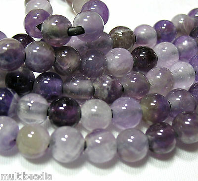 """Amethyst 8mm Round 2.5mm Large Hole Beads 8"""" Chain Leather Cord Wire Wrap"""