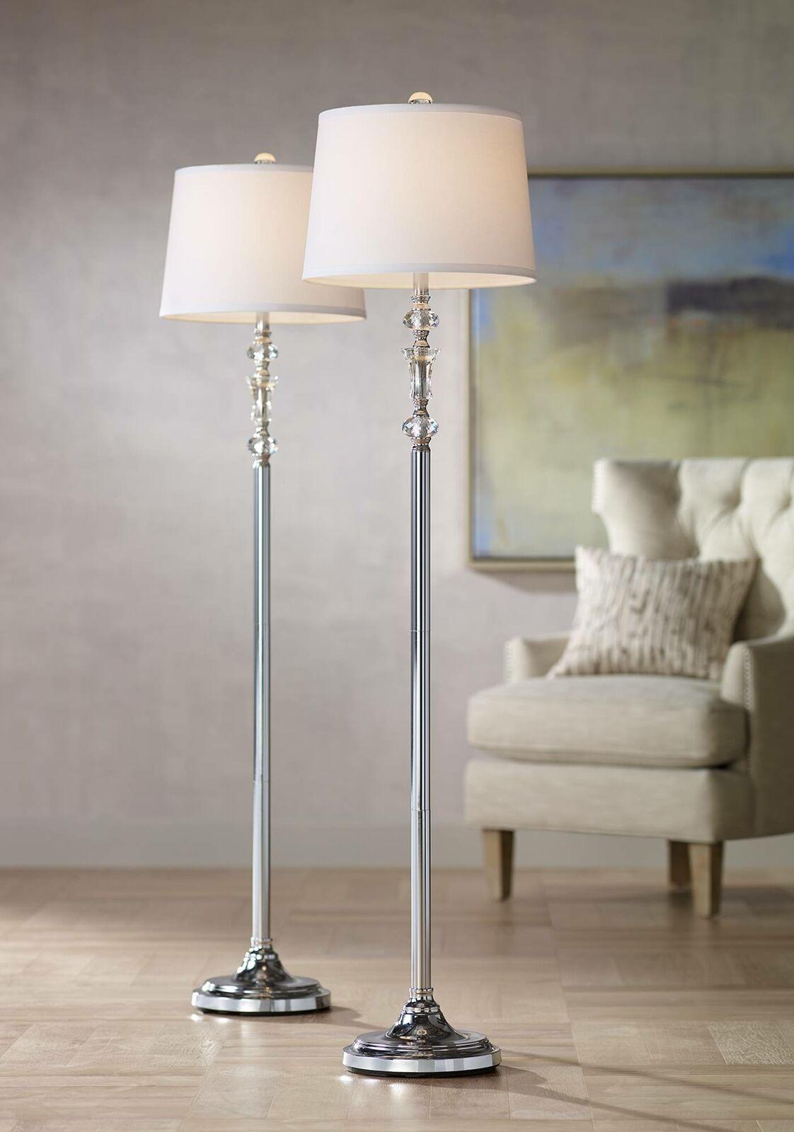 Picture of: Modern Floor Lamps Set Of 2 Polished Steel Crystal Glass For Living Room Bedroom For Sale Online
