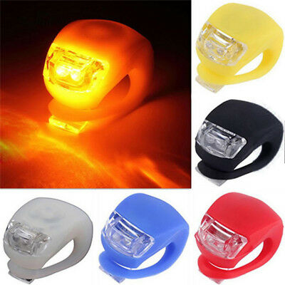 2Pcs Silicone Bicycle Bike Cycle Safety LED Head Front & Rear Tail Light Set