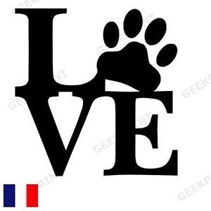 Sticker autocollant love amour patte de chat ou chien - Image patte de chien gratuite ...