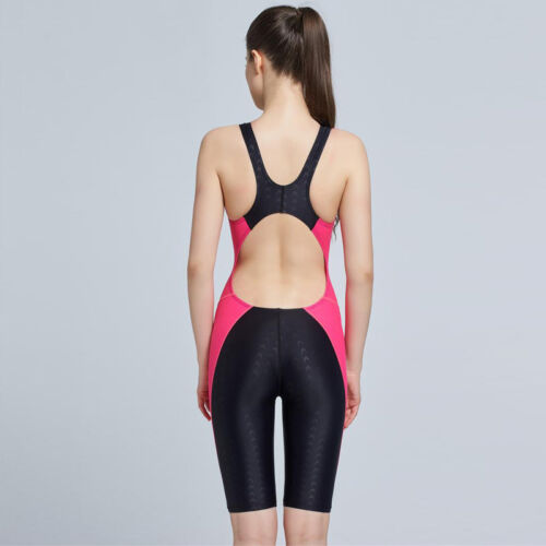 Women One Piece Racing Training Swimwear Sharkskin Knee Swimsuit Bathing Suit
