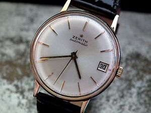 Beautiful-Full-Size-Solid-18ct-Rose-Gold-1960-s-Zenith-Automatic-Vintage-Watch