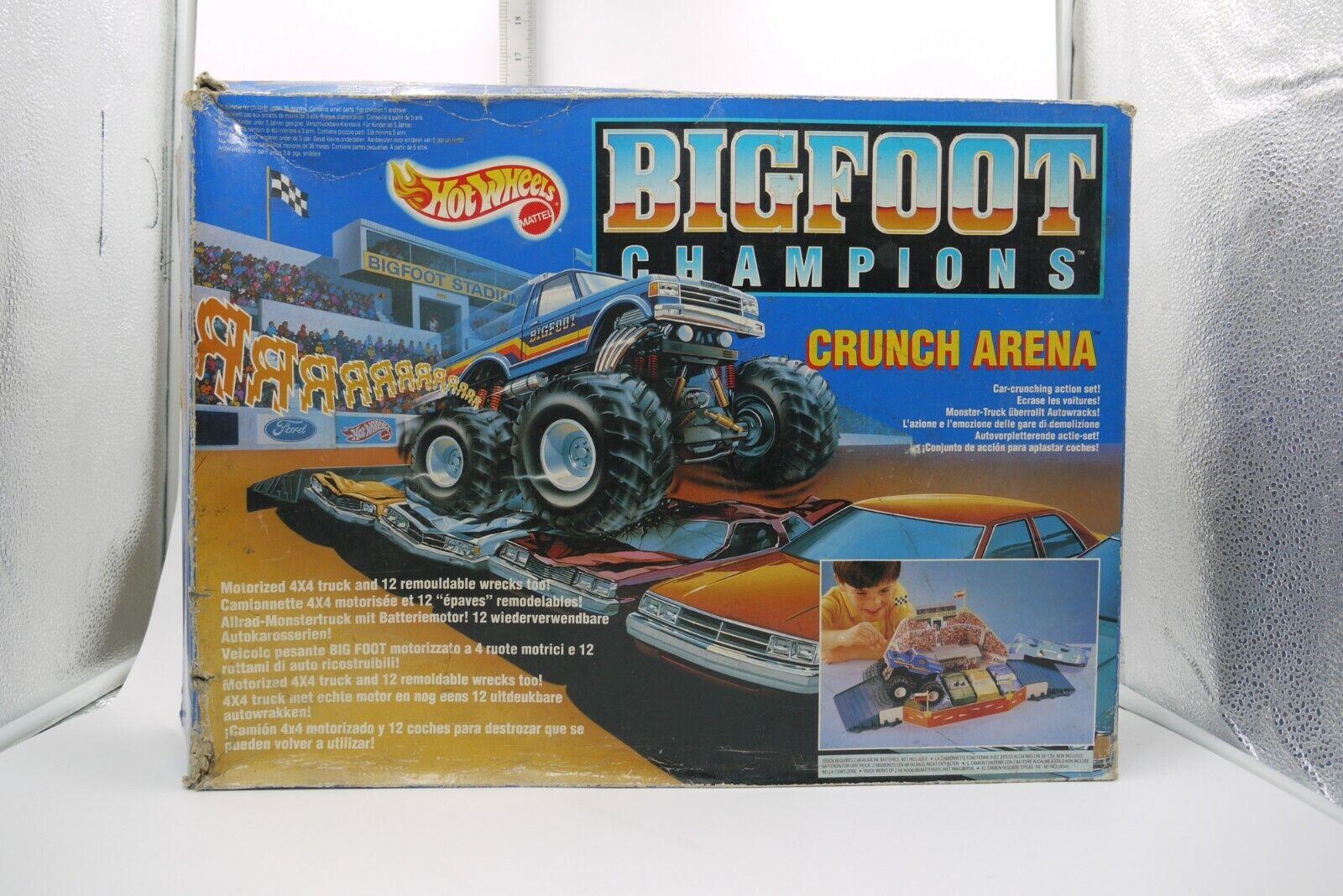 Vintage 1991 HOT WHEELS Bigfoot Champions Crunch Arena Playset MATTEL BOXED