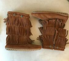 NEW Minnetonka Youth Girl/'s 3 Layer Fringe Boots Black #2659 Q22 z