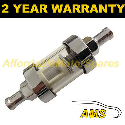 "3//8/"" UNIVERSAL SMALL IN LINE FUEL FILTER CHROME METAL /& GLASS WASHABLE"