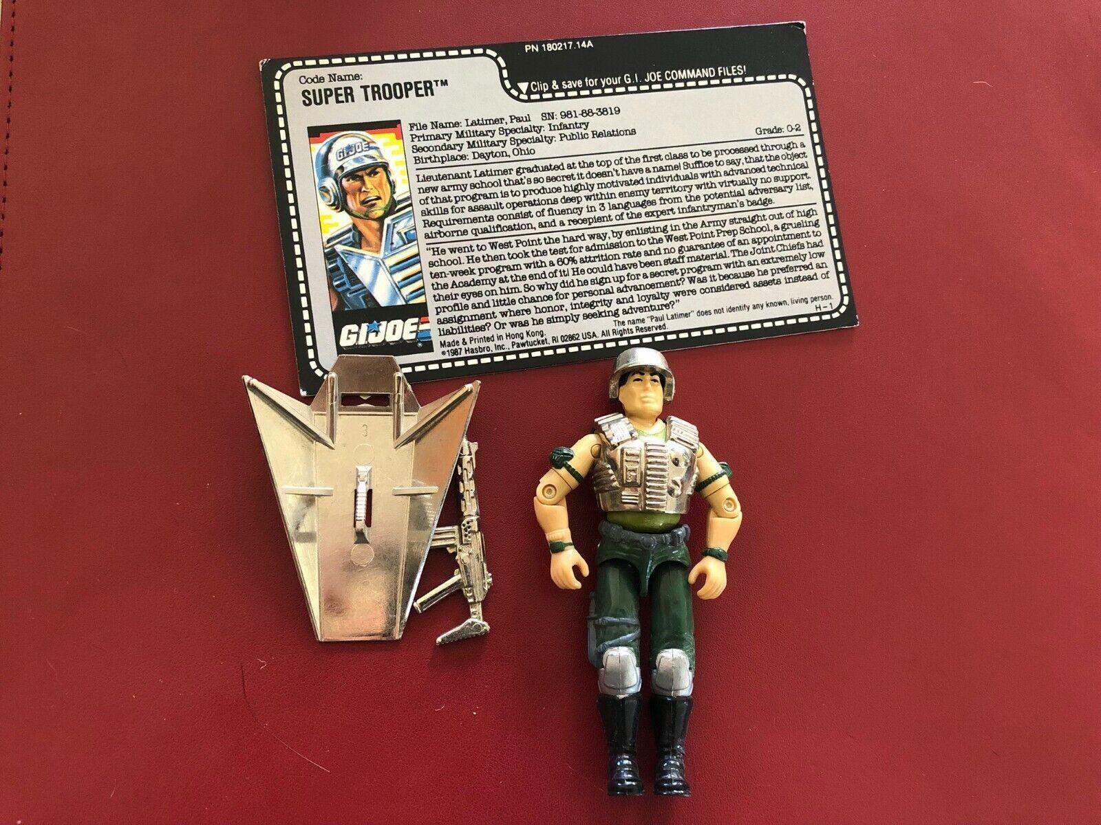Vintage GI Joe 1988 Chrome Super Trooper V1 100% completare w File autod