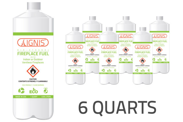 IGNIS Bio Ethanol Fuel 6 Pack Ethanol fireplace fuel 1 Quart each BIO FUEL