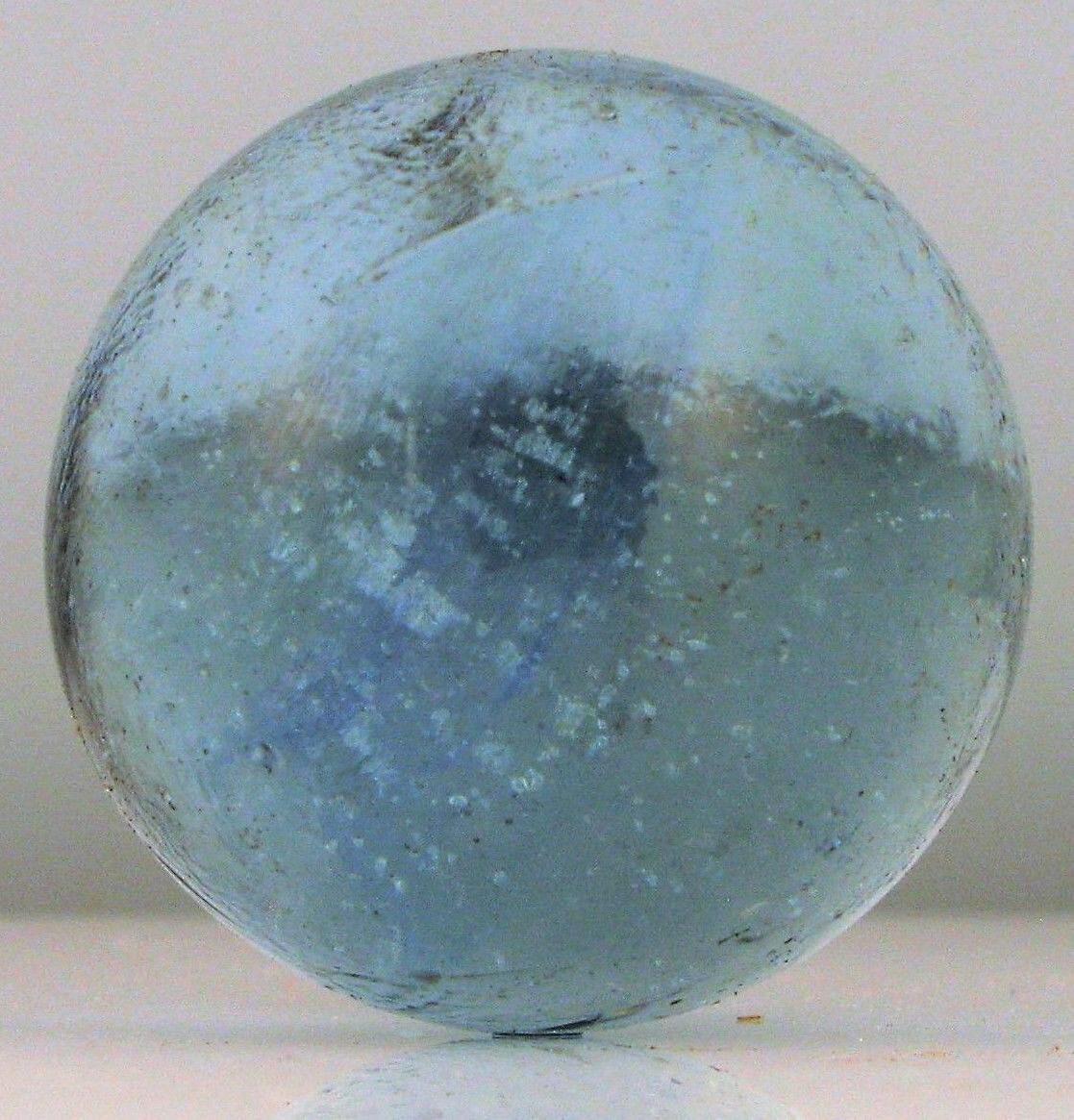 Antiguo Alemán Canicas Soplado a Mano Vaso Beautiful Azul Remolinos Burbujas