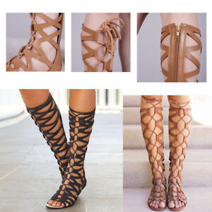 Women Gladiator Shoes Knee High Sandals Cut Out Lace Up Flat