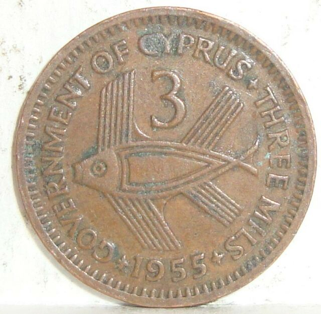 1955 CYPRUS 3 MILS QUEEN ELIZABETH II NICE WORLD COIN