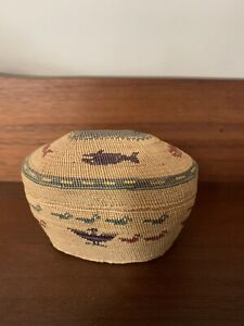 Exceptional Very Fine Antique Nootkah Makah Lidded Basket, Whales, Canoe, Ducks