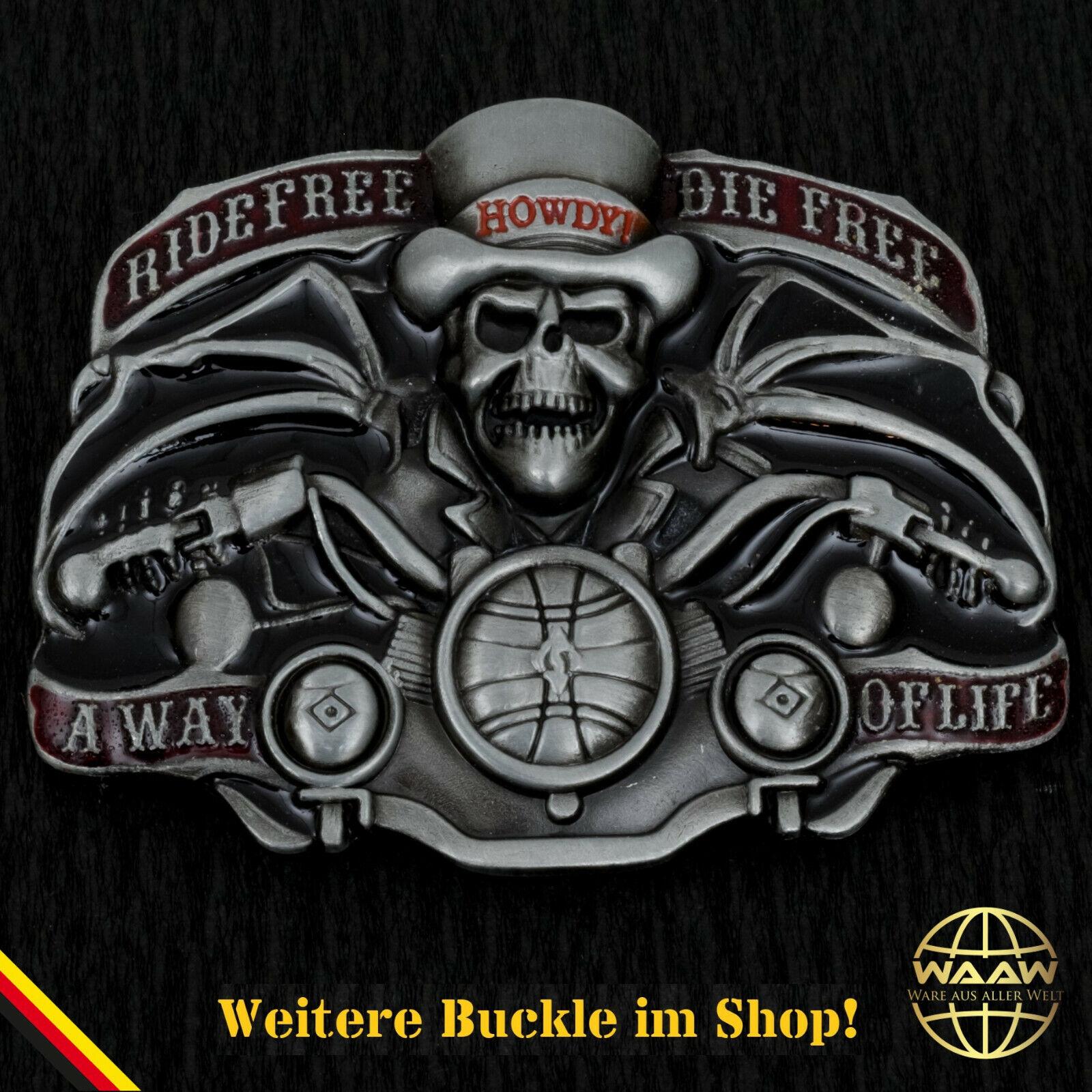 Gürtelschnalle Buckle Gürtelschliesse Koppel Skull Totenkopf Motorrad Biker