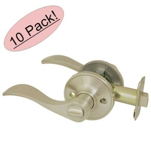 10 PACK Cosmas 80 Series Satin Nickel Privacy Door Lever Knob DL82SN