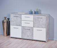 Comò moderno cassettiera in colore bianco e grigio marmo 5 ante 2 cassetti