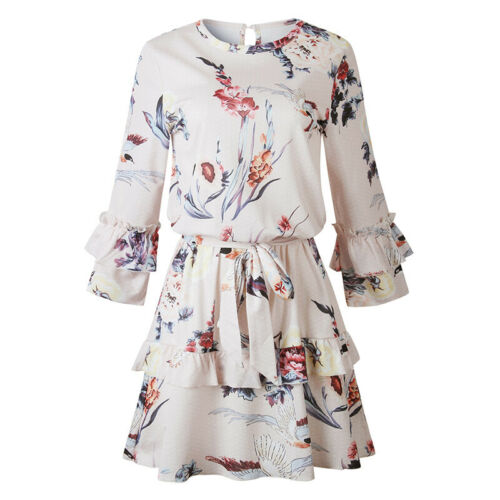 Elegant Long Sleeve Round Collar Ruffles Dress Lady Lace Up Floral Printed Dress