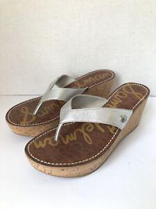 SAM EDELMAN Sz 9.5 Cork Thong Wedge ROMY Sandals Metallic Silver Platforms (A3)