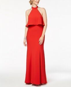 a2ee9abc042d $240 XSCAPE WOMEN'S RED RUFFLE BACK SLIT OPEN BACK HALTER GOWN DRESS ...