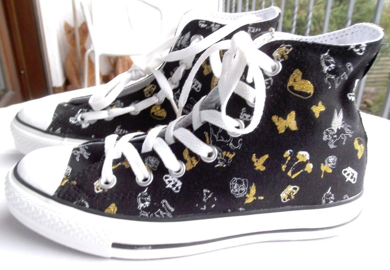 Converse Chuck Sneaker schwarz mit weißen, gold-und silberfarb Motiven Gr.37 NEU