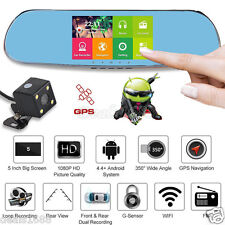Quad Core 5'' Android 4.0 Car Rearview Mirror GPS 1080P DVR +Wifi +Backup Camera