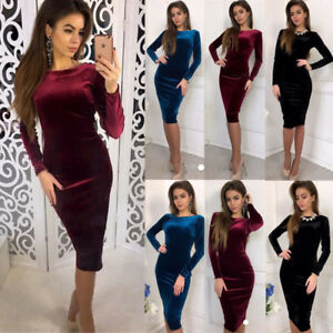 3b35d197484 Details about UK STOCK Women Cocktail Party Bodycon Lady Crushed Velvet  Long Sleeve Midi Dress