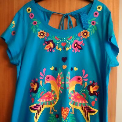 Ladies Next Applique Blue top Size 22