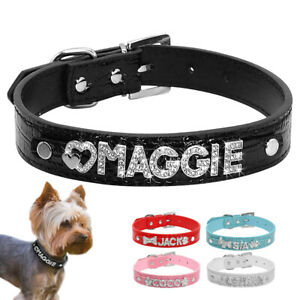 Bling-Cuir-Personnalise-Strass-Lettre-Nom-charme-Pet-Cat-Dog-Collar-S-M-L
