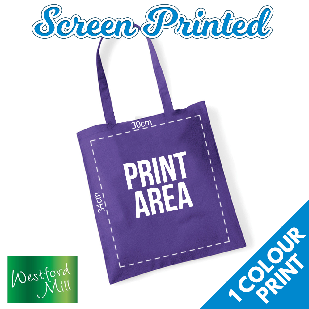 Custom Screen Printed Personalised Tote Bag Bag Bag - 1 Print Colour Bags Logo Text Lot | Qualität Produkt  079063