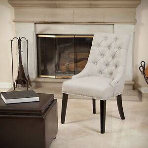 curved shape upholstered tufted dining accent chair with nailhead trim 849114912720 ebay. Black Bedroom Furniture Sets. Home Design Ideas