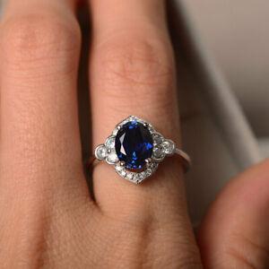 2-20Ct-Oval-Cut-Blue-Sapphire-Diamond-Halo-Engagement-Ring-14K-White-Gold-Finish