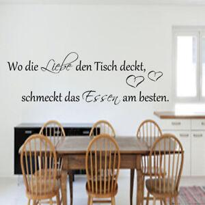 Details zu Wandtattoo Küche Esszimmer Wo die Liebe den Tisch  deckt...Wandspruch