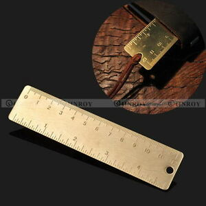 Pocket-Mini-Vintage-Brass-Ruler-4-034-keyring-attachment-bookmark-Ruler-Dual-Scales