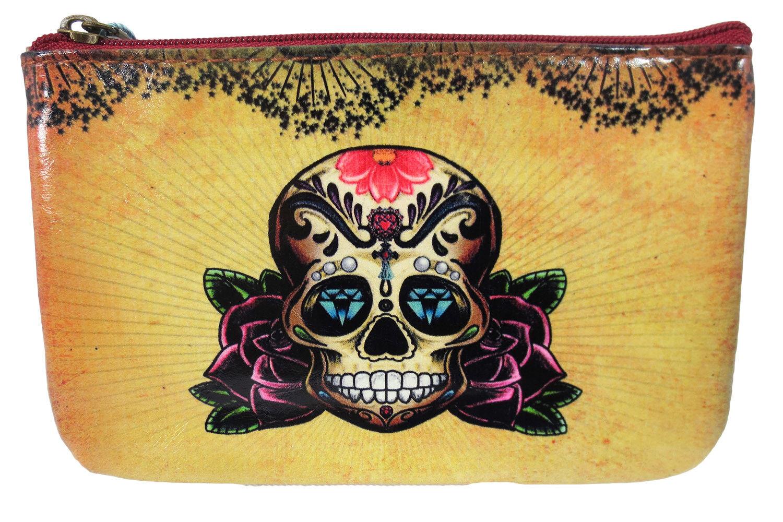 Lavishy Vintage Tattoo Sugar Skull - Rose and Anchor Art Small Flat Pouch
