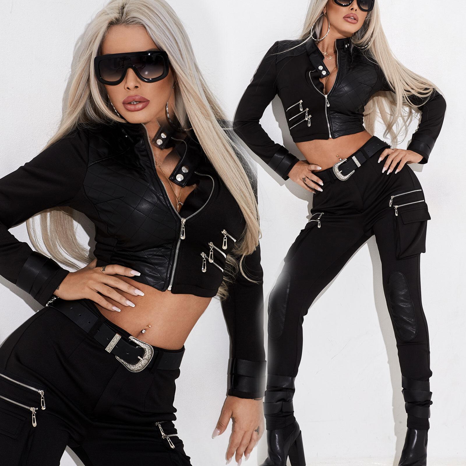 By Alina 2-Divider damen Jacke High-Waist Skinny Trousers + Jacke Leather guarda XS S M