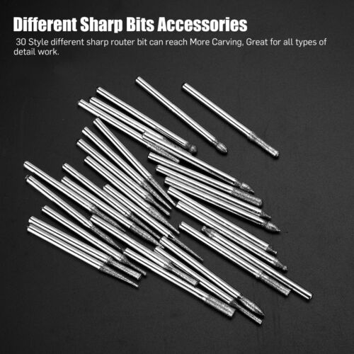 90 Pcs Diamond Burr Bits Drill Set Rotary Multi Tool Accessories Kit For Dremel