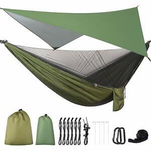 FIRINER Camping Hammock with Mosquito Net & Rainfly Tent Tarp & Tree Straps P...