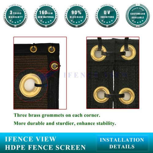 Ifenceview 8/'x3/'-8/'x50/' Brown UV Fence Privacy Screen Mesh Fabric Garden Outdoor