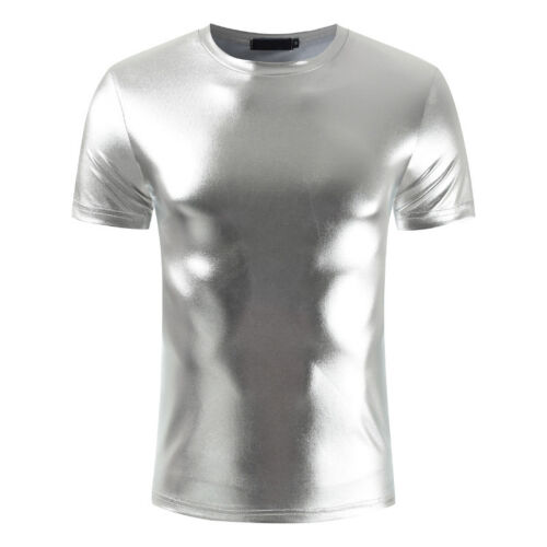 Silver clubwear partywear Size M Mens PVC Wet look T shirt PVC Vest